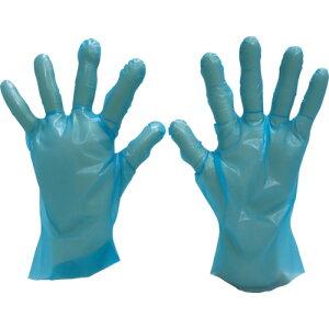 [ポリエチレン使い捨て手袋]エフピコ商事(株) エフピコ WエンボスG指絞り26 ブルー M 袋(100枚入) B27E 1袋【115-8665】