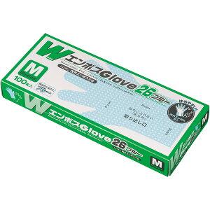 [ポリエチレン使い捨て手袋]エフピコ商事(株) エフピコ WエンボスGLOVE26 ブルー M 箱(100枚入) KCXT 1箱【115-8628】