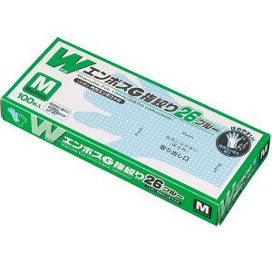 [ポリエチレン使い捨て手袋]エフピコ商事(株) エフピコ WエンボスG指絞り26 ブルー M 箱(100枚入)  TLK1 1箱【115-8661】