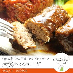 牛たん俵ジャンボハンバーグ(デミグラスソース)720g(240g×3パック)送料無料!