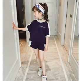 ジャージ キッズ 女子 上下 半袖 春夏 子供服 セットアップ 2点セット Tシャツ パーカー ショートパンツ スポーツウェア 運動着 可愛 シンプルい おしゃれ 新品
