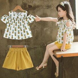 子供服 セットアップ キッズ 女の子 春夏 2点セット 上下セット Tシャツ 半袖 花柄 肩出し ショートパンツ ジュニア おしゃれ 可愛い カジュアル 新品 150 160