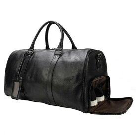 ボストンバッグ メンズ 本革 レザー 大容量 トラベルバッグ 増大版 55cm ショルダーバッグ ゴルフ鞄 軽量 旅行鞄 小旅行 帰省 出張 靴ポケット付き