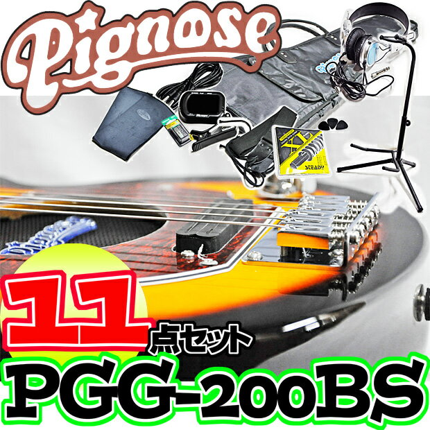 アンプ内蔵コンパクトなエレキギター超オトクな11点セット!/Pignose PGG-200 BS=Brown Sunburst+小物10点/PGG200【送料無料】【smtb-KD】【RCP】:-as-p2