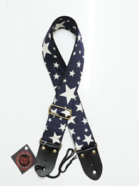 ONE'S WAY(ワンズウェイ)ギターストラップ(日本製:MADE IN JAPAN)【OWS-2000】SNY(STAR/NAVY)GUITAR STRAP/OWS2000【送料無料】【smtb-KD】【RCP】