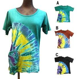 半円タイダイエスニックTシャツ エスニック衣料 エスニックアジアンファッション