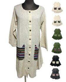猫柄ポケットボタンエスニックワンピース エスニック衣料 エスニックアジアンファッション