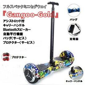 【特別価格継続】【期間限定 全国完全送料無料】 『Gangoo-Gold』 セグウェイ ミニセグウェイ バランススクーター アシストロッド付 キャリーハンドル Bluetooth音楽 ずっと修理サービス付