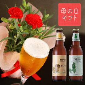 <5月9日・10日お届け> 母の日ギフト【 カーネーション 鉢植 & フルーツビール 2種4本 飲み比べセット 】花 クラフトビール詰め合わせ