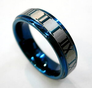 メンズ リング タングステン ローマ数字 ブルーPVD タングステンアクセサリー タングステンリング 指輪 レディース ユニセックス レアメタル サイズ豊富 9号〜29号まであります