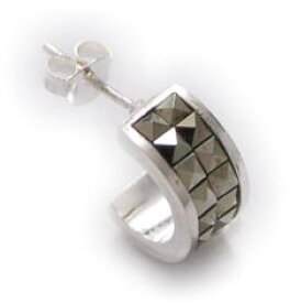 Silver925ヘマタイトスタッズピアス[シルバーピアス]クールな印象のヘマタイトピアス、人気です!