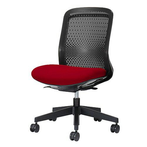 PLUS プラス Try トライ パソコンチェア PCチェア オフィスチェア ワークチェア ビジネスチェア メッシュチェア メッシュチェアー フィット メッシュ フィット 放熱 チェア チェアー 椅子 いす イス ローバック 肘なし レッド 赤 KC-TR60SEL