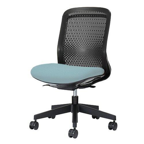 PLUS プラス Try トライ パソコンチェア PCチェア オフィスチェア ワークチェア ビジネスチェア メッシュチェア メッシュチェアー フィット メッシュ フィット 放熱 チェア チェアー 椅子 いす イス ローバック 肘なし スカイブルー KC-TR60SEL