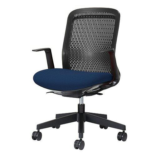 PLUS プラス Try トライ パソコンチェア PCチェア オフィスチェア ワークチェア ビジネスチェア メッシュチェア メッシュチェアー フィット メッシュ フィット 放熱 チェア チェアー 椅子 いす イス ローバック 肘付き ブルー 青 KB-TR60SEL