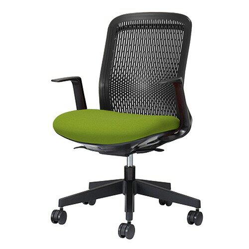 PLUS プラス Try トライ パソコンチェア PCチェア オフィスチェア ワークチェア ビジネスチェア メッシュチェア メッシュチェアー フィット メッシュ フィット 放熱 チェア チェアー 椅子 いす イス ローバック 肘付き イエローグリーン KB-TR60SEL