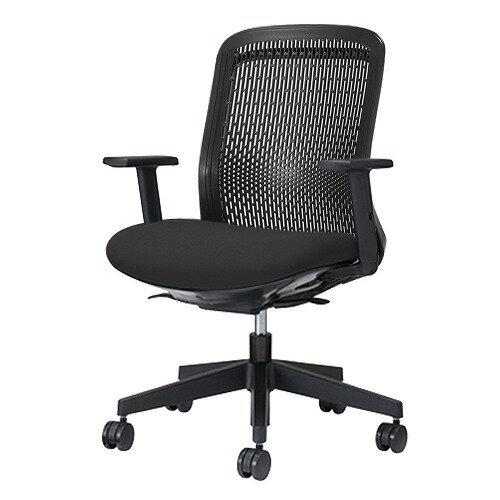 PLUS プラス Try トライ パソコンチェア PCチェア オフィスチェア ワークチェア ビジネスチェア メッシュチェア メッシュチェアー フィット メッシュ フィット 放熱 チェア チェアー 椅子 いす イス ローバック 肘付き ブラック 黒 KD-TR60SEL