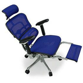 Ergohuman エルゴヒューマン プロ ハイブリット機能 オットマン内臓 足置き付き パソコンチェア PCチェア オフィスチェア ビジネスチェア ワークチェア チェア チェアー 椅子 イス いす オフィス 高機能 メッシュ 調節機能 青 ブルー EHP-LPL-HB KMD35