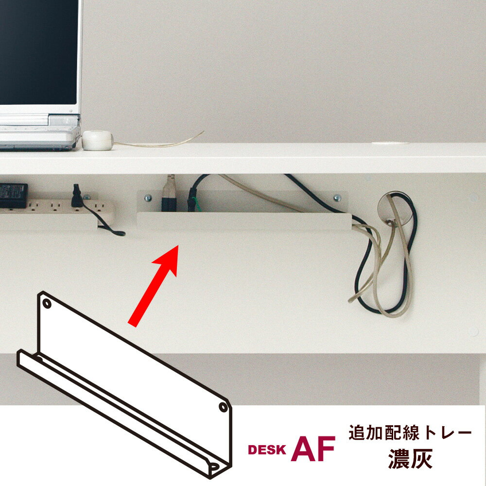 デスク AF 追加配線トレー (Garage ガラージ 配線収納 配線整理 配線トレー デスク用 机用 収納 整理 整頓 配線 整理整頓 ケーブル コード 線 すっきり きれい 簡単 スチール製 ケーブル収納 追加 大容量 幅380×奥行57×高さ110mm)