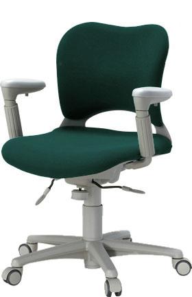 PLUSプラスオーバルチェアOCチェアパソコンチェアオフィスチェアデスクチェア事務イス学習チェア椅子イスチェアchair前傾姿勢キャスター付き疲れにくいアジャスト肘付きローバックフローリング用キャスター青ブルーOC-Z06SLU