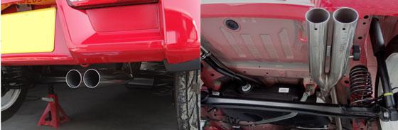 OVERTEC-K(オーバーテックK) DUAL SOUND MUFFLER HA36S/V 2WD/NA車 オールステンレス 中間50.8φ/テール60φダブル出し 注)センタートンネル部のプレートを取外し必要.