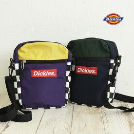 ディッキーズチェッカーショルダーバッグ レディース メンズ キッズ チェック ロゴ ネイビー パープル ワンサイズ