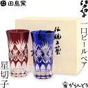 江戸切子 一口ビール 星切子 ペア 瑠璃 赤 田島硝子 ビールグラス 切子グラス ビアグラス 父の日 ギフト 贈り物 木箱…