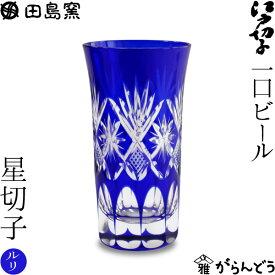 江戸切子 一口ビール 星切子 ルリ 田島硝子 ビールグラス 切子グラス ビアグラス 父の日 ギフト 贈り物 紙箱入