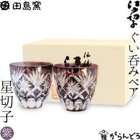 【送料無料】 江戸切子 ぐい呑み 星切子 ペア 紫 田島硝子 切子グラス ぐい飲み 父の日 ギフト 贈り物 木箱入
