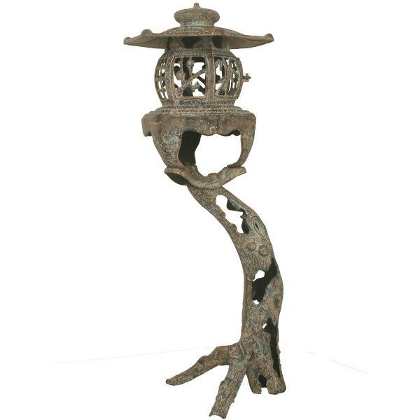 【送料無料】灯篭 高岡銅器 古木灯籠 古朴燈籠 庭置物