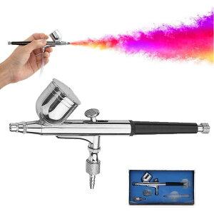 エアブラシ 口径0.3mm ダブルアクション エアブラシ 7cc 重力式 エアーブラシキット 騒音なし ハンドピース スプレー ペイントブラシ
