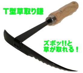 「濃州兼松作 T型草取り鎌T-1」ズボッ!!と草が取れる!