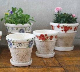 ローズポット Flower planter Lサイズ 2柄セット 鉢皿付き 【BFGG5028】
