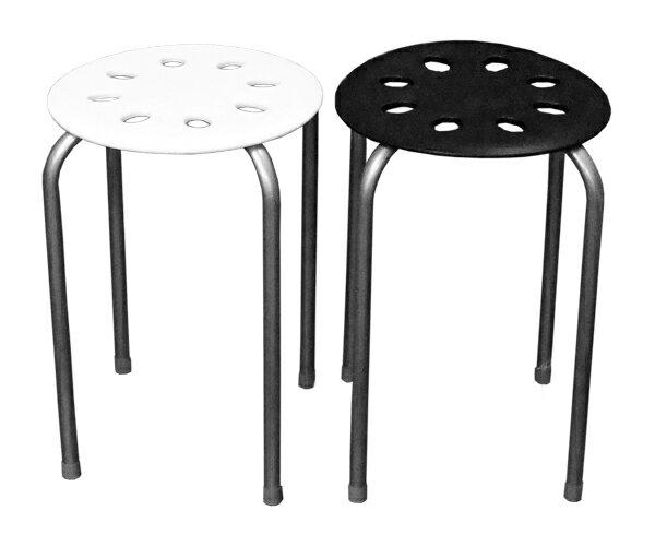 【送料無料】丸椅子 MC-3044ブラック・ホワイト 10脚セット
