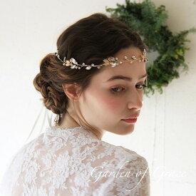 ウェディングヘッドドレス 葉っぱと木の実のストーン冠 シルバー ゴールド ウエディング ヘッドアクセ髪飾り【フォイユ】