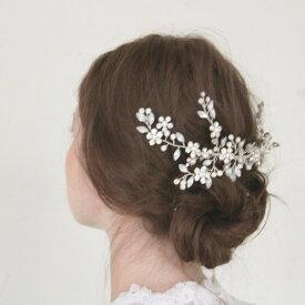 ウエディングヘッドドレス 半貴石のヘッドアクセ、和装、成人式、ムーンストーン【ネージュロング】