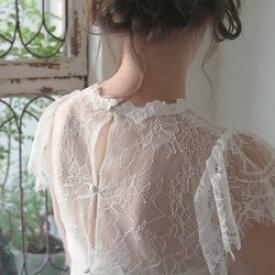 ウエディングドレス ボレロ レース ドレス 二次会 花嫁総レース キャップスリーブボレロ3ボタン【リリー】