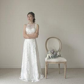 ウエディングドレス エンパイアドレス Aラインドレス 総レース 刺繍ドレス ナチュラルウエディングに【アナボタニカルドレス】