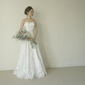 ウエディングドレス エンパイアドレス Aラインドレス 総レース 刺繍ドレス ナチュラルウエディングに【メイベルボタニカルドレス】