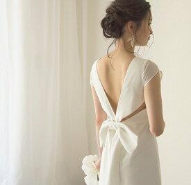 ウエディングドレス エンパイア 二次会ドレス スレンダードレス シンプルなウェディングドレス【ユーカリドレス】