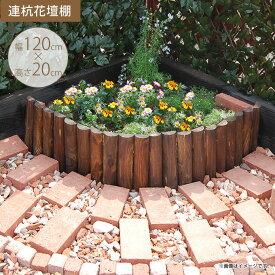 連杭花壇柵 W120×H20cm 花壇 仕切り 囲い 花壇フェンス ガーデニング 土留め 木製 花壇材 寄せ植え 自在 公園 小学校 幼稚園 【送料無料】
