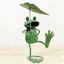 ブリキ製カエルオーナメント リーフパラソル 置物 玄関 可愛い かわいい オーナメント 動物 かえる 蛙 フロッグ 庭 ガーデン エクステリア ガーデニング