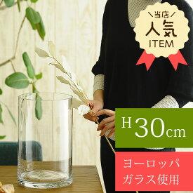花瓶 ガラス EUROグラス 直径19×高さ30cm クリアー フラワーベース 大きな 北欧 ヨーロッパ シンプル 円柱 花器 透明 大きい 大型 おしゃれ 【送料無料】