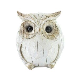 ガーデニング雑貨 アンティーク フクロウ レジン オブジェ L ホワイト ガーデン 置物 バード 鳥 ふくろう かわいい 飾り 動物 雑貨