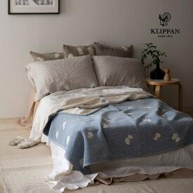 KLIPPAN クリッパン コットン シングルブランケット CHOUCHO ブルー W140×L180cm mina perhonen ミナペルホネン シュニールコットン オーガニック 天然素材 北欧 おしゃれ 送料無料 寝具 ソファ