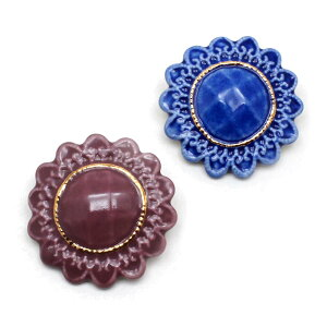 【有田焼 アンティークボタン ブローチ:gargle(ガーグル)】アクセサリー accessory ワイン ネイビー 陶器 伝統工芸