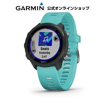 ForeAthlete 245 Music Black Aqua ランニングウォッチ マルチスポーツ GPS トレーニング Garmin ガーミン