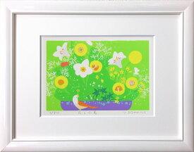 吉岡浩太郎『花と小鳥』(太子判)ジグレ・シルクスクリーン版画