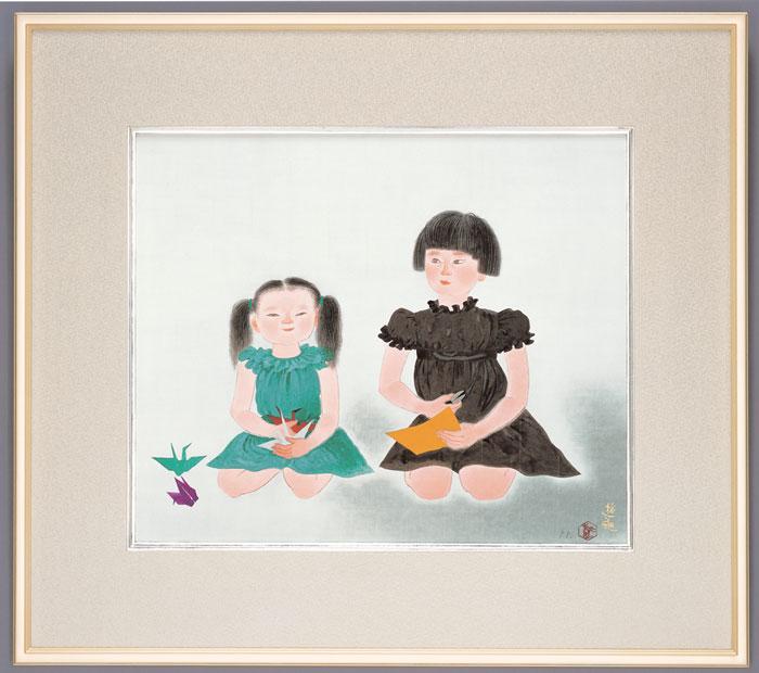 小倉遊亀『姉妹』(あねいもうと)彩美版・シルクスクリーン手刷り・プラチナ泥手彩