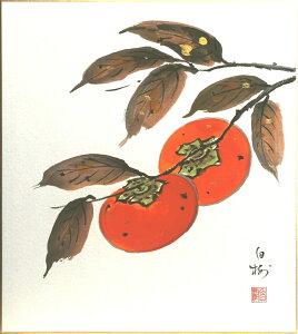 川村白樹『柿』色紙絵