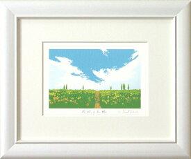 吉岡浩太郎『花咲く大地』(インチ判)ジグレ版画